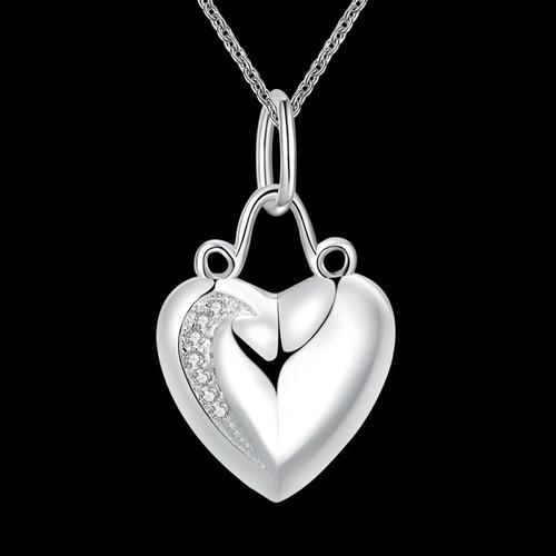 colar feminino pingente de coração + cristais banho em prata