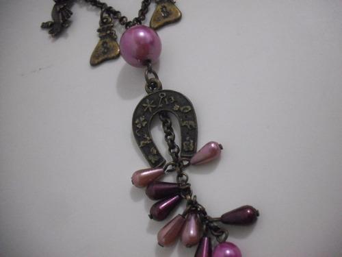colar feminino pingente ferradura  dinheiro coruja sapo