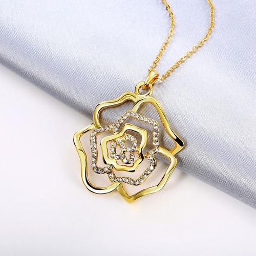 colar feminino pingente flor banho ouro + cristais zircônia