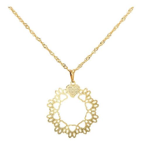 colar feminino pingente mandala patinhas banhado ouro 18k
