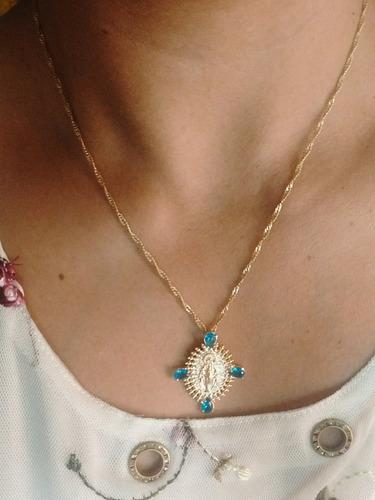 colar feminino pingente nossa senhora banho ouro 18k