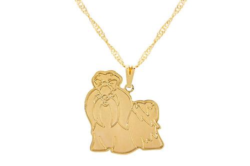 colar feminino pingente raça shihtzu banhado a ouro 18k
