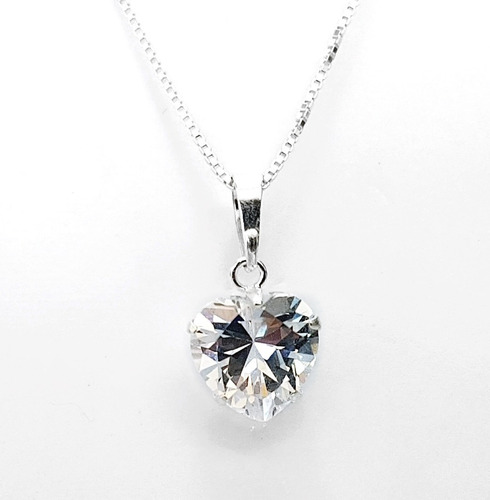 colar feminino ponto de luz coração brilhante prata pura 925