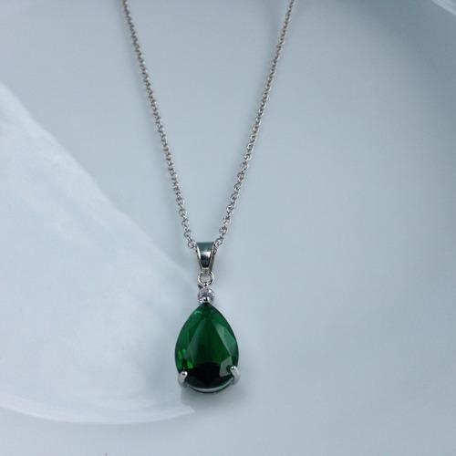 colar feminino ponto de luz gota esmeralda prata pura 925