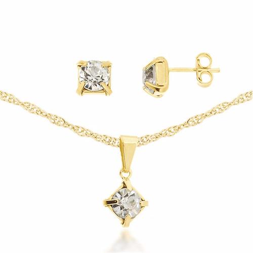 colar feminino ponto de luz quadrado banhado a ouro 18k