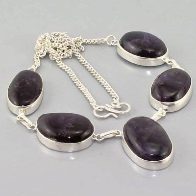 colar feminino prata com quartzo ametista natural roxo j833