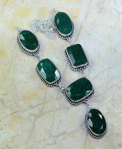 colar feminino prata esmeraldas naturais festa formatura