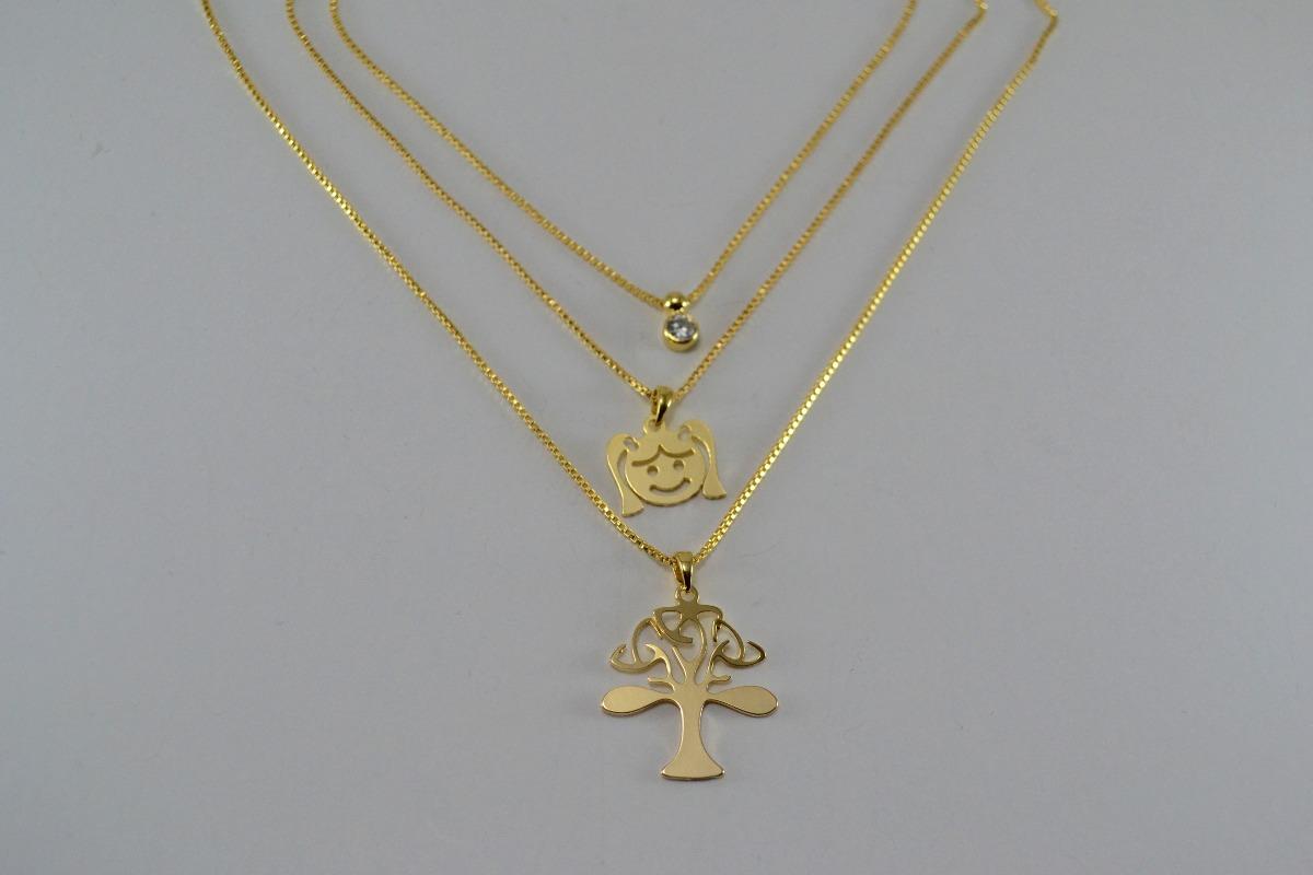 a0cae7ea15311 colar feminino triplo 3 fios menina arvore banhado ouro 18k. Carregando  zoom.