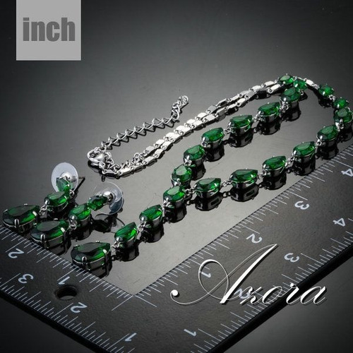 colar feminino verde cúbicos de zircônia + brinco zircônia