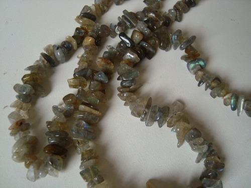 colar fio cascalho pedra labradorita natural g