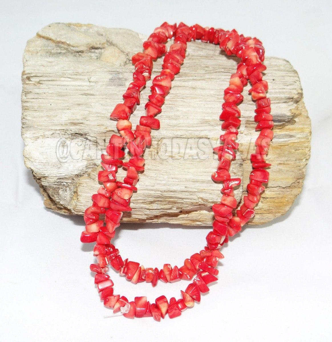 colar fio guia cascalho coral pedra natural iansa pomba gira r 27