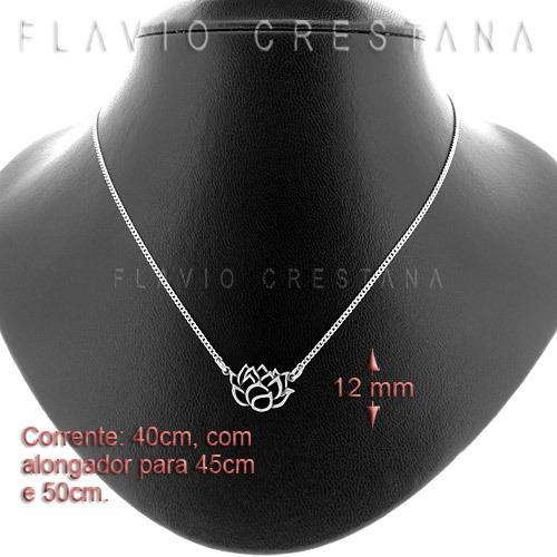 colar flor de lotus pq, prata 925. fabricação própria  - 610