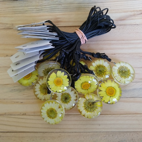 colar flor margarida/ girassol  amarelo ref: 9502 (dúzia)