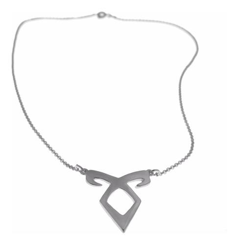 colar folheado a prata - im - runa angelical - 1214f