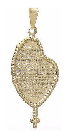 colar folheado ouro 18k com pingente pai nosso oração terço