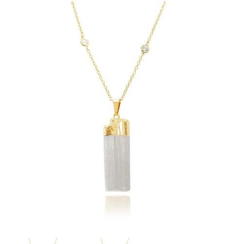 colar folheado ouro 18k tiffany e pedra cristal vulcanizada