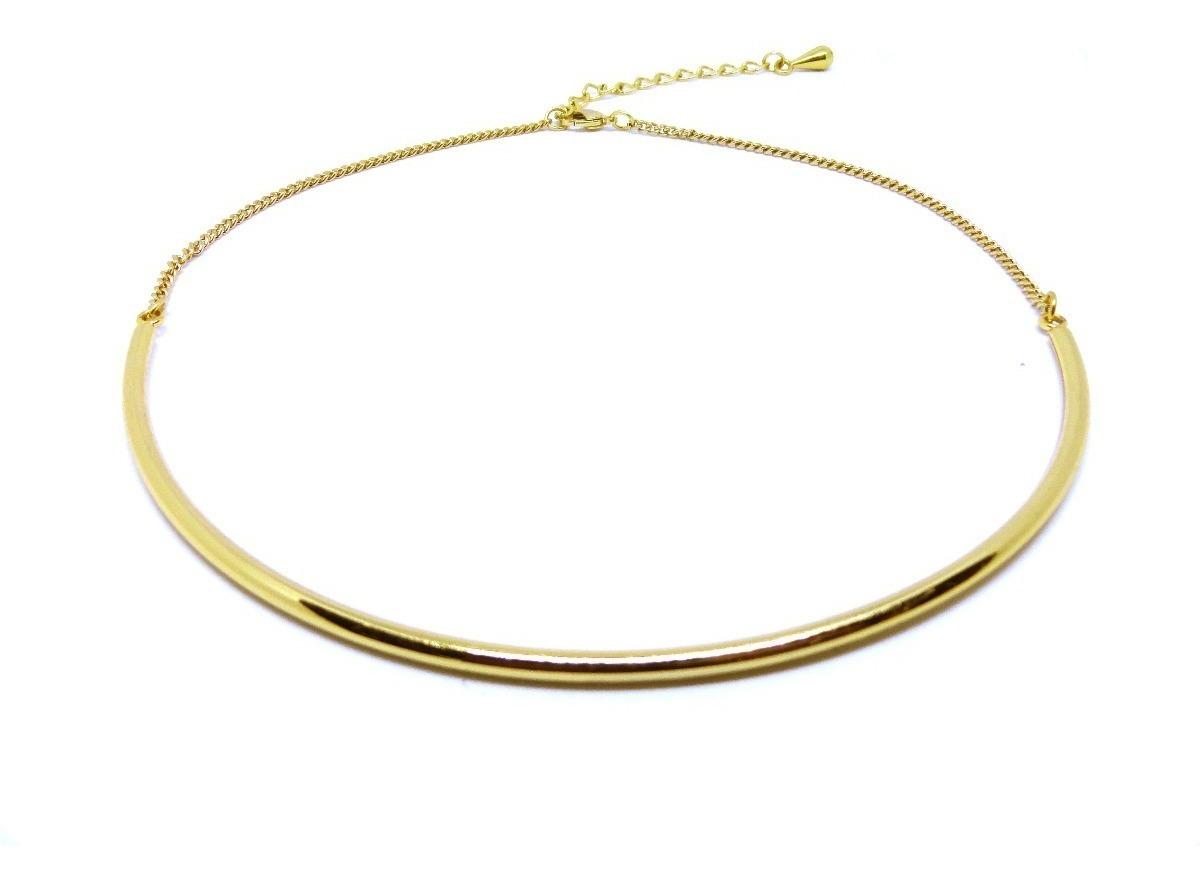 2d25962460fc3 Colar Gargantilha Choker Aro De Metal Dourada Extensor