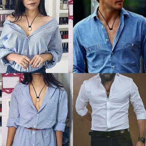 colar gargantilha cordão ajustável masculino feminino couro