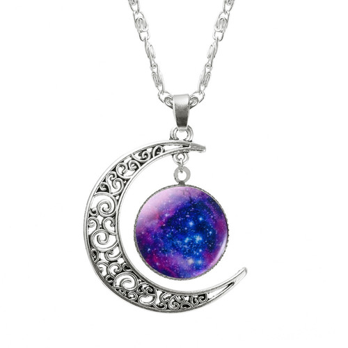 colar gargantilha de vidro galaxy lindo feminino
