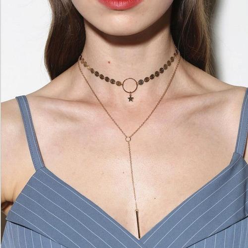 colar gargantilha feminina estilo gravata com cubo grg 200 m
