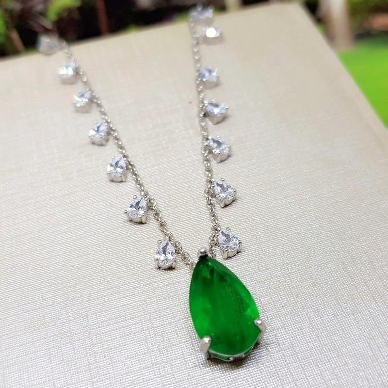7b3a87715ce69 colar gargantilha gota esmeralda fusion tiffy prata 925. Carregando zoom.
