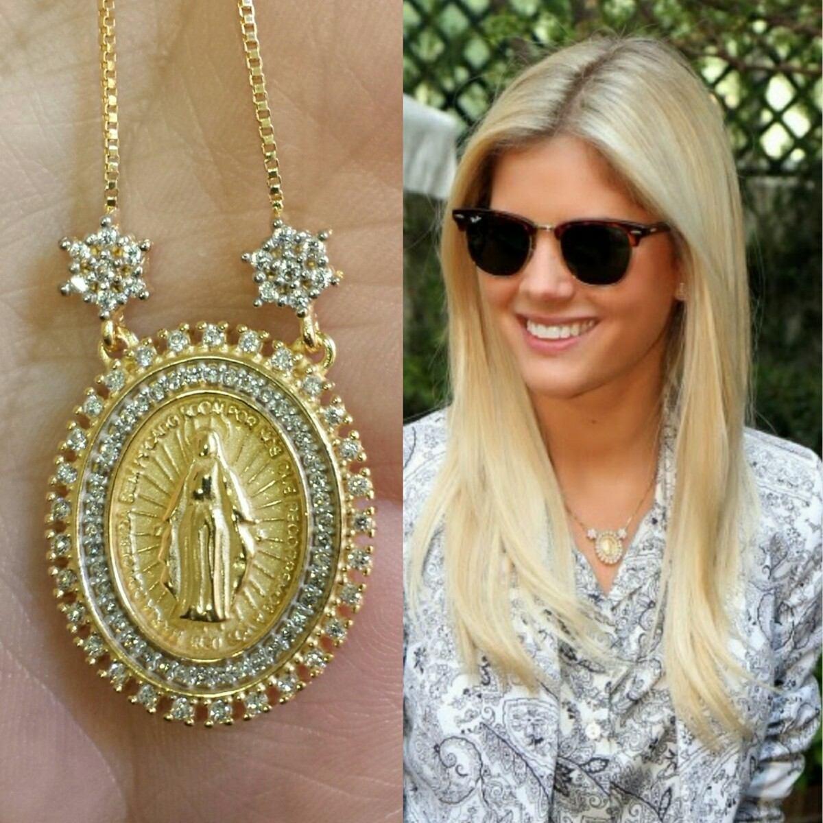 3ebfd20a52fe6 colar gargantilha nossa senhora das graças semi joia ouro 18. Carregando  zoom.