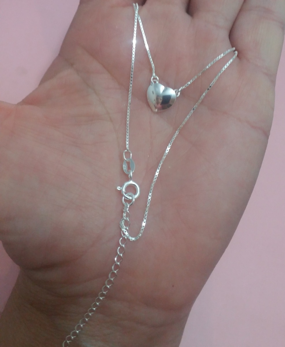 08c2c39145af8 colar gargantilha prata 925 pingente coração 42 45cm. Carregando zoom.