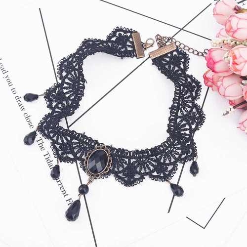 colar gargantilha preto velvet choker necklace com 7pingente