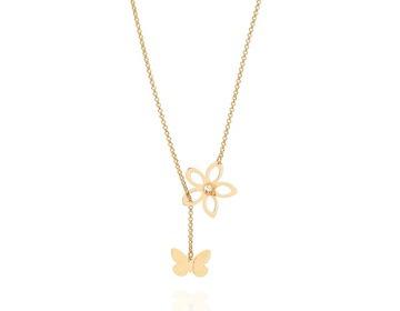 colar gargantilha rommanel flor borboleta crista ouro 531162