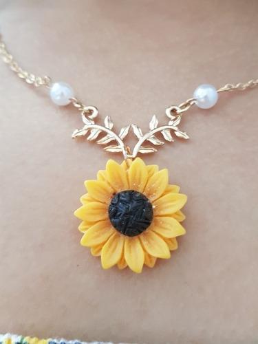colar girassol pronta entrega pingente flor feminino