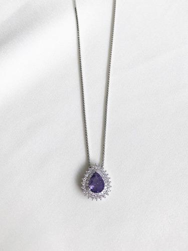 colar gota ametista fusion com cravação de zircônias prata