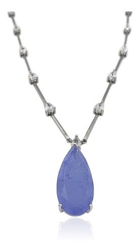 colar gota azul fusion e zircônia ródio branco andreza mota