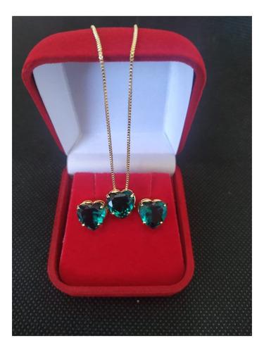colar gota verde + brinco folheado a ouro 18k garantia e nf