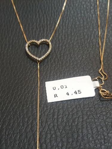 colar gravatinha de coração 100% ouro 18k
