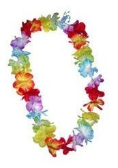 colar havaiano tecido flor lindo c/50 promoçao