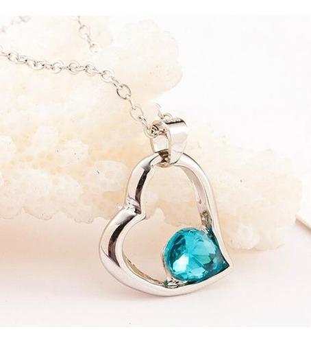 colar heart pingente de cristal coração