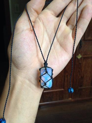 colar hippie com pedra da lua regulável artesanato