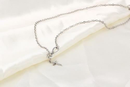 colar infinito com pingente de cruz ( frete r$12,00)