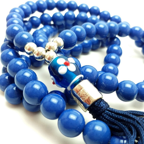 colar japamala  budismo ho´oponopono 108 contas azul