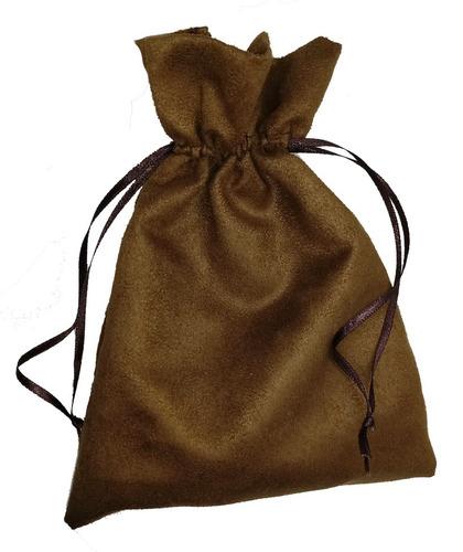 colar japamala madeira escura 10mm 60cm bag suede + brinde