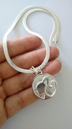 colar laminado 4mm pingente barbie banhado prata