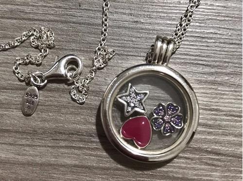 colar locket love petite memories prata 925