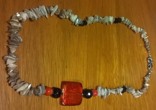 colar madrepérola 60cm murano vermelho quadrado
