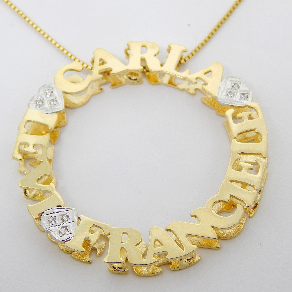 colar mandala 3 nomes personalizada banhado a ouro 18k. Carregando zoom. 17372934ad