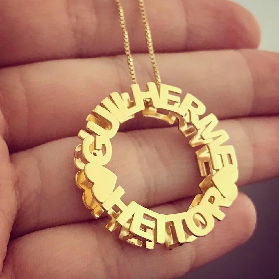 colar mandala com nomes personalizados - banhado a ouro 18k. Carregando  zoom. 38aa332467