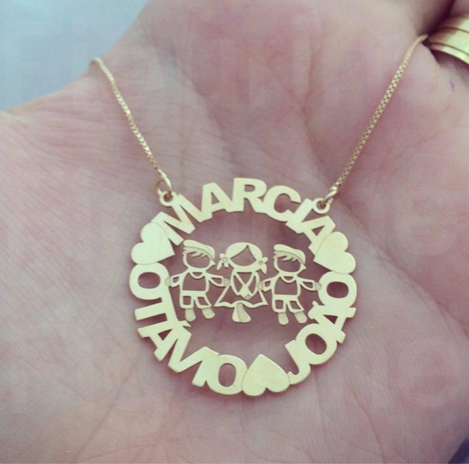 colar mandala filhos personalizada com nomes banhado ouro 18. Carregando  zoom. c639c98324