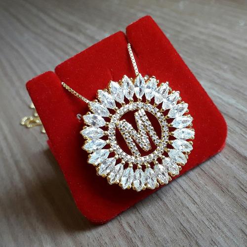 colar mandala letra semi joia caixinha veludo garantia 1 ano