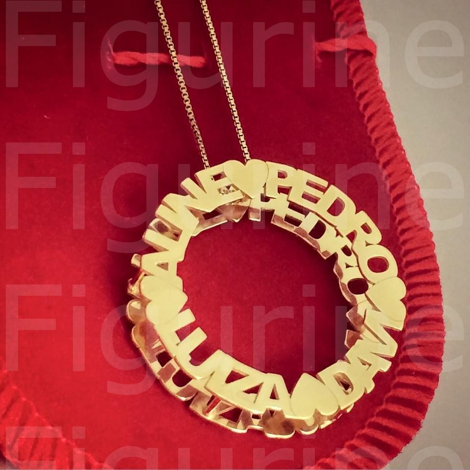 colar mandala personalizada com nomes - banhado a ouro 18k. Carregando zoom. 30892192a1