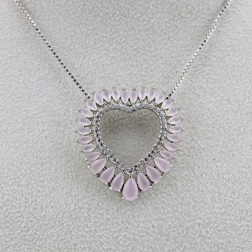 colar mandala prata coração navete quartzo rosa - cl020131