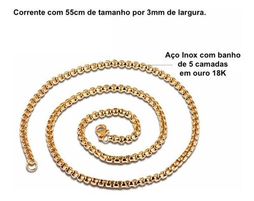 colar masculino banhado em ouro 18k crucifixo + corrente